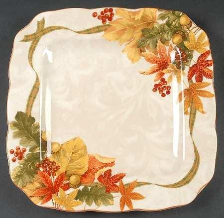 222 Fifth Autumn Celebration Square Dinner Plates, Set of 4, Harvest Thanksgiving