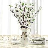 Ramas de flor de cerezo con tallos largos, 10 ramas de flores artificiales de cerezo para decoración del hogar, boda, hotel, jardín, árbol, color blanco