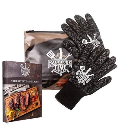 BarbecueTime hitzebeständige Grillhandschuhe - Feuerfest bis 800 Grad - inklusive E-Book - Topfhandschuhe mit Anti-Rutsch Silikon - Praktische BBQ Ofenhandschuhe zum Grillen - Lange Kaminhandschuhe