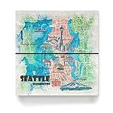 artboxONE Holzbild 20x20 cm Städte Seattle Illustrierte Karte von Künstler artshop77 -
