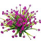 Peoxio - 4 mazzo di fiori artificiali, resistenti ai raggi UV, per interni ed esterni, decorazione da vaso per la casa e il giardino