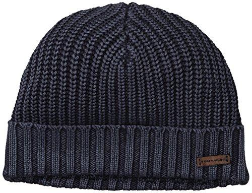 TOM TAILOR Herren Strickmütze washed structured cap/411, Einfarbig, Gr. One size, Blau (knitted navy 6800)