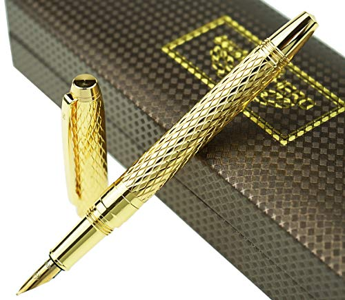 Hero Metal Brushed Golden Water Ripples Fountain Pen Iridium Fine Nib 0.5mm with Original Gift Box