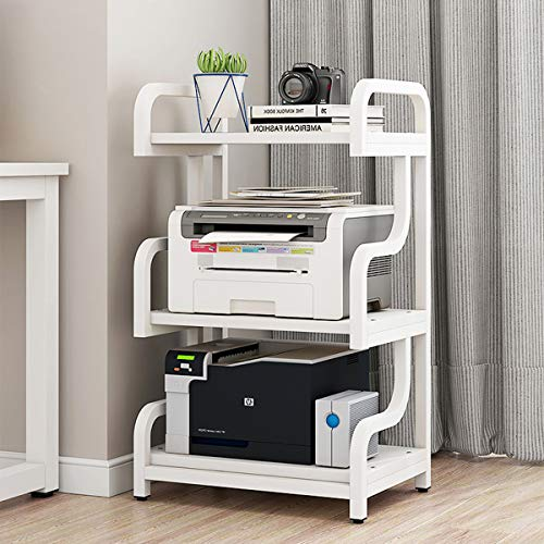 Natwind Home Printer Stand Storage Rack with Anti-Skid Pads 3-Tier Floor-Standing Multi-Purpose Home Office Kitchen Storage Shelf for Fax, Scanner, Files, Books, Microwave Oven Stand(White)