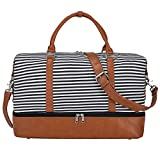 S-ZONE Women Canvas Weekender Bag Overnight Carryon Duffel Tote PU Leather Strap(Medium)