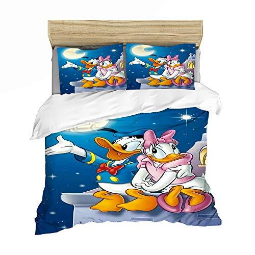 QIAOJIN Juego de ropa de cama para niños, impresión 3D de Donald Duck Anime, funda nórdica y funda de almohada, hipoalergénico, suave (s,260 x 220)