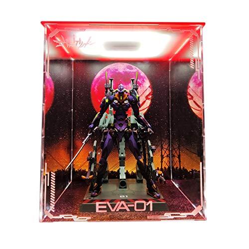 Bandai EVA Evangelion Nuevo Siglo Primero Modelo Modelo marco de la exhibición Caja de luz LED hecha a mano de PVC Figura Modelo GK Display cubierta de la caja de Polvo