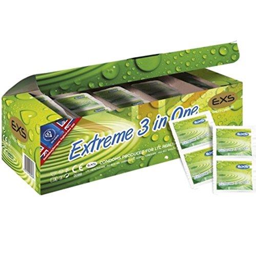 EXS Condoms dünnes, aber starkes, seidiges Latex-Kondome mit Rippen und Noppen 3 in einem 144 Stk, 520 g