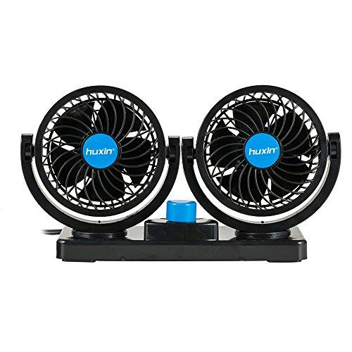 FREESOO Mini Ventilador 12 V Ventilador Doble Cabezal 360 Grados Giratorio 2 de Velocidad con 2M Cable y 3M Pegatinas Silencioso para Coches