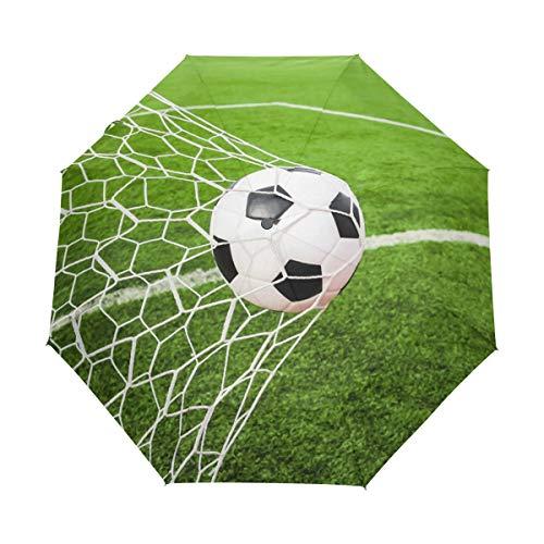 Bigjoke Regenschirm, 3-fach faltbar, automatischer Öffnung, Fußball, Sport, winddicht, Reise-Regenschirm, kompakt für Jungen, Mädchen, Männer, Frauen