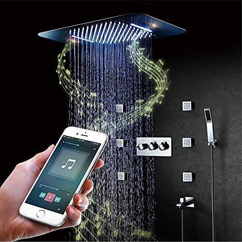 BILLY'S HOME Luxus-LED-Duschsystem, Intelligente Musik-Bluetooth-Regendusche mit Fernbedienung 580 × 380 mm
