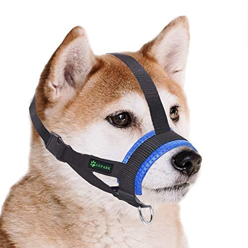 ILEPARK Maulkorb aus Nylon für Kleine,Mittlere und Große Hund, Verstellbare Maulkorb um Hunde vom Beisen, Bellen und Kauen abzuhalten(M,Blau)