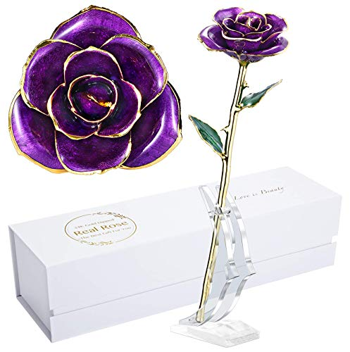 Anniversary Rose Gift for Wife, Forever 24k Gold Real Rose and Best for her Rose, Purple with Stand
