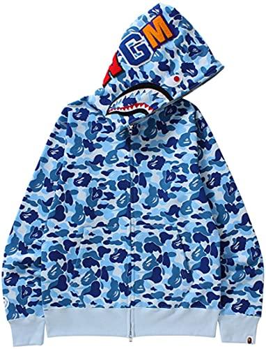 Imilan Shark Jaw Camo Bape Hoodie Shark Mouth Jacket Full Zip Up for Men Women Teenager(Mi Blue1-1,Medium)