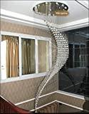 7PM W32' X H96' Staircase Moon Shaped Wave and Spiral Clear K9 Crystal Chandelier Flush Mount