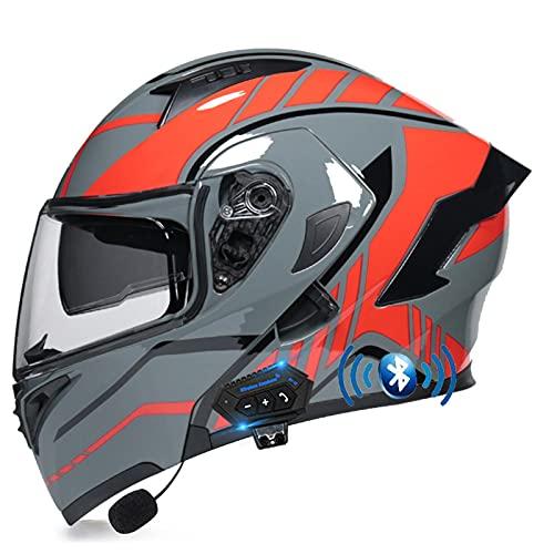 ZHANGYUEFEIFZ Bluetooth Casco de Moto Modular ECE Homologado, Cascos Motocicleta Scooter Integrado con HD Anti Niebla Doble Visera para Mujer Hombre (Color : A, Size : (XL/61-62CM))