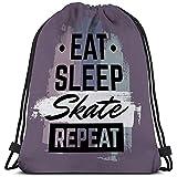 BOUIA Uomo Donna con Coulisse Borsa Citazione tipografica Mangia Sonno Skate ripeti Skateboard Stile Minimalista Grunge Vintage Font Template