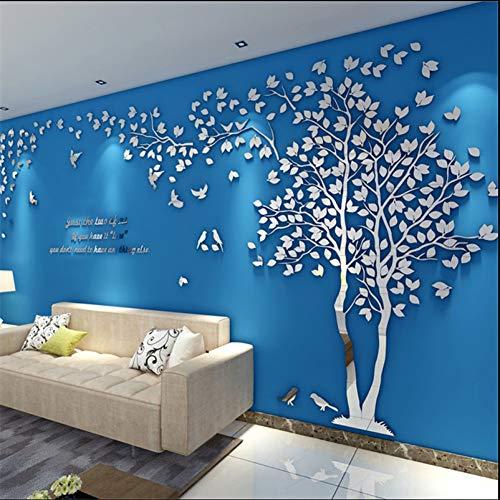 KLMQT Wandaufkleber 3D Baum Spiegel Wandaufkleber Abziehbilder DIY Kunst Tv Hintergrund Wand Poster Dekoration Schlafzimmer Wohnzimmer Wallstickers