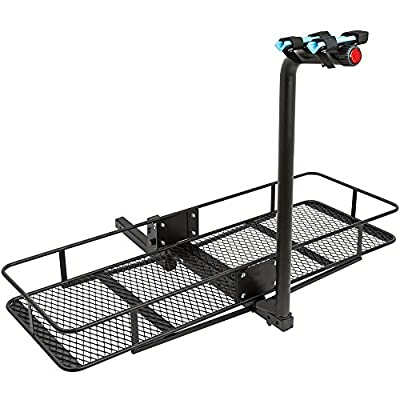 """Rage Powersports 2-Bicycle 60"""" Folding Cargo Carrier Basket Rack Combo for 2"""" Hitches"""