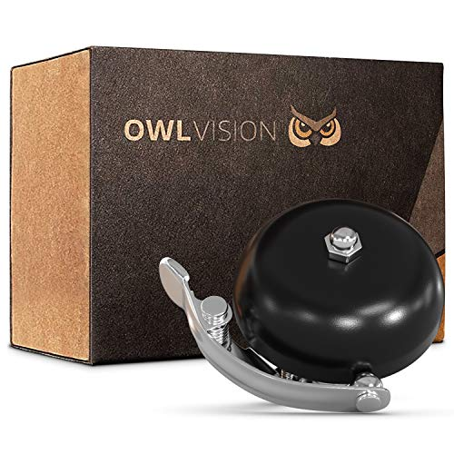 OWL VISION - Hochwertige Fahrradklingel Classic [universal passend] Fahrrad Klingel Retro mit sehr klarem Klang - Premium Fahrradglocke für Mountainbike Rennrad - MTB & Fahrrad Zubehör Glocke Ring