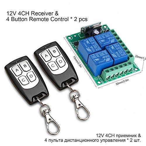 Mando a distancia inalámbrico 433 MHz, 12 V, 4 canales, interruptor de relé RF de larga distancia, 2 transmisores + 1 receptores para puerta de garaje/portal alarma