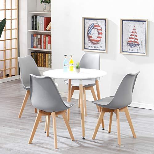 Esstisch mit 4 Stühlen Schminktisch Küchentisch Wohnzimmertisch Round Tisch Set für Küche Büro Restaurant (Grau)