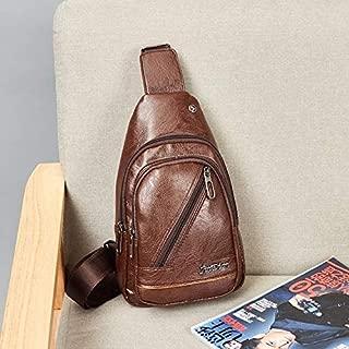 WTYD Single Shoulder Bag PU Leather Single Shoulder Bag Travel Chest Crossbody Bag (Black) (Color : Brown)