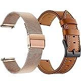 LLKHFA 2pcs acciaio inossidabile e cinturino Per Samsung Galaxy orologio 3 45mm 41mm/ attivo 2 46mm/ 42mm Gear S3 20 22mm braccialetto (colore cinturino: oro rosa mi marrone, larghezza di banda: 45mm)