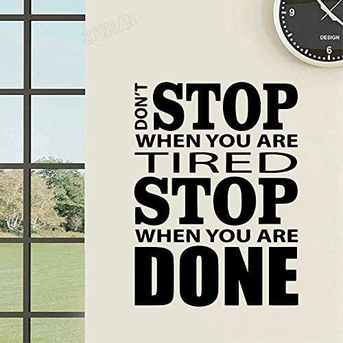HGFDHG Don't Stop Gym Fitness Pegatinas de Pared calcomanías de Vinilo motivacionales Inspiradoras para la Pared del Arte de la Oficina Dormitorio