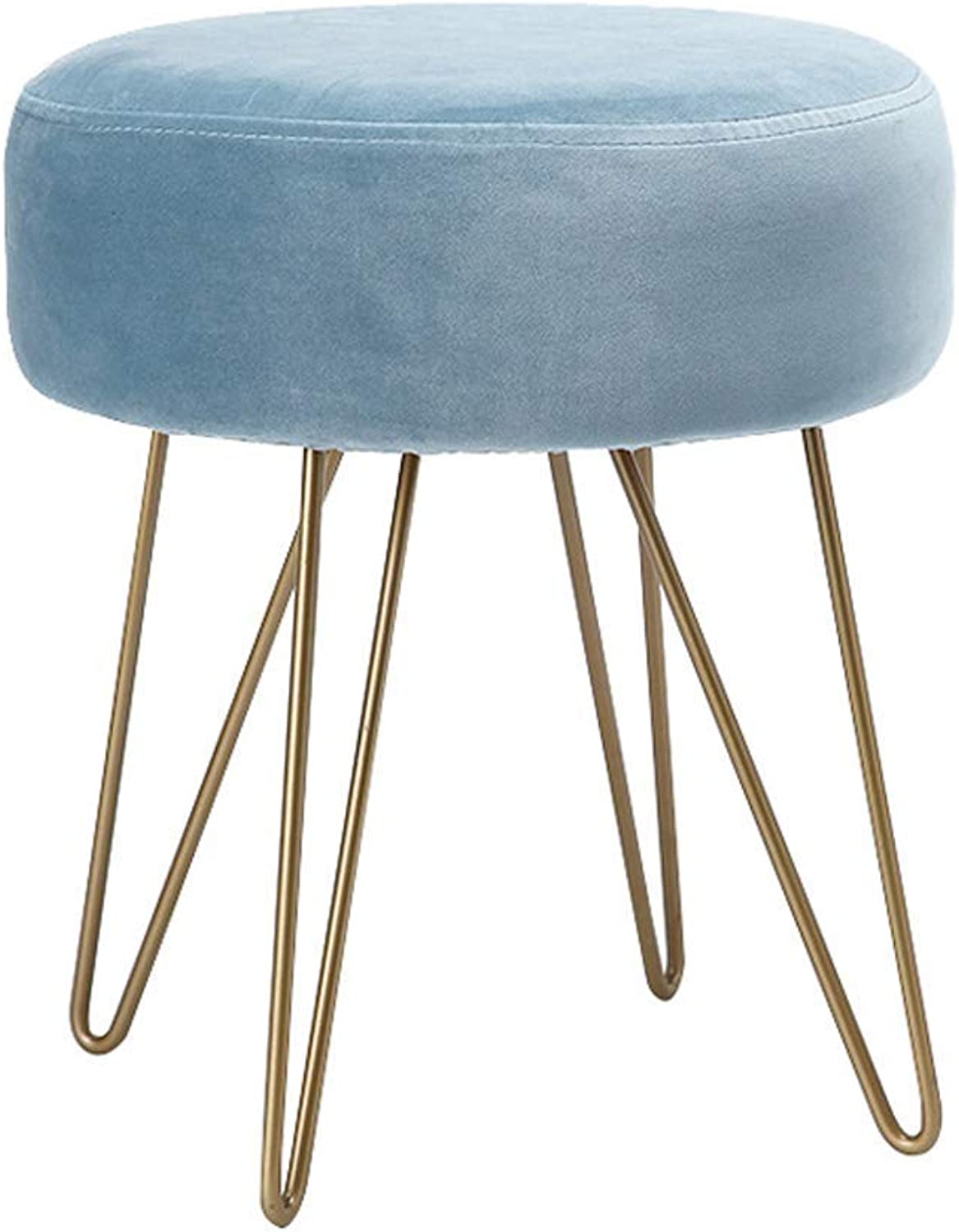 Simple Round Barstools,Nordic Bar Stool Makeup Tall Stool Leisure Pouffe Chair with Soft Sponge Seat for Bar Kitchen Bistro Pub Breakfast,35×35×40cm (bluee)
