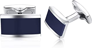 HONEY BEAR Rectangle Cufflinks for Mens Shirt,Stainless Steel for Business Wedding Gift