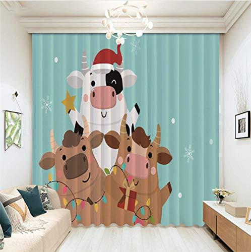 Cortinas Opacas con Ojales, 3D Impreso Digital Año Nuevo 2021 Cortinas Temáticas De Vaca De Dibujos Animados para Dormitorio Infantil Decoración De Sala De Estar 280X250Cm