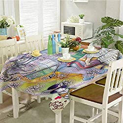 DRAGON VINES Tablecloth Rectangle Kitchen Tablecloth Magical Fantasy World of Adventure Clock Flamingo Cheshire Cat Rabbit Retro Desktop Decoration 52 x 70 inch