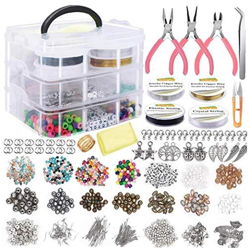 Hiinice Suministros Fabricación De Joyas Pendiente DIY Kit Set con Cuentas Alicates Herramientas para Rebordear Alambre Pendientes De La Pulsera del Collar De 1171pcs Mano