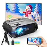 Bomaker Wi-Fi Mini Projector, 150 ANSI Lumen, Native 1280x720P Portable Projector, Full HD 1080P Supported Outdoor Projector, Wireless Mirroring by WiFi/USB Cable, for iPhone/Android/Laptops/Windows