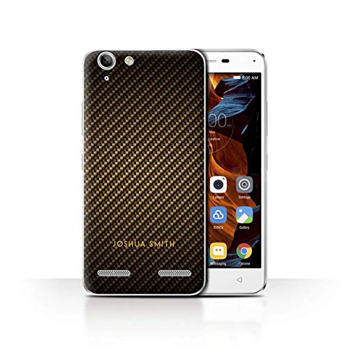 Stuff4 Personalised Phone Case for Lenovo Vibe K5 Plus Carbon Fibre Effect Gold Stamp Transparent Clear Ultra Slim Thin Hard Back Cover