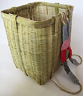竹製 背負い篭 角長 ヒモ付 竹かご 竹篭 50-170