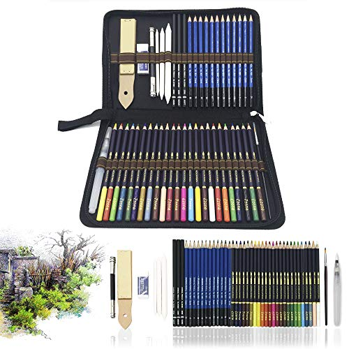 Lapices de Colores,Lapices Acuarelables,Lápices de Dibujo y Bosquejo Material de dibujo- 54Pcs Dibujo Artístico Profesional lápices Set en estuches escolares - Ideal para la pintura creativa