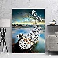 """キャンバス上の絵画創造性時計時間失われた壁アートポスターとプリントアートワークの写真寝室のリビングルームの装飾23.6"""" x31.4""""(60x80cm)フレームレス"""