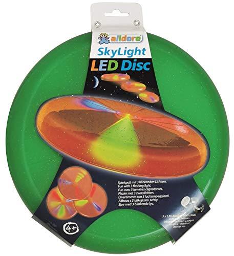 alldoro 63017 Sky Light Disc, Wurfscheibe Ø ca. 27 cm, Frisbeescheibe mit 3 LEDs, für Strand, Garten und Outdoor, Wurfspiel für Kinder ab 4 Jahren & Erwachsene, grün