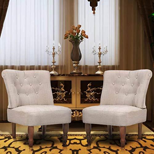 Zora Walter Franz?sische St ̈1hle Juego de 2 sillones de Tela, Color Crema, sillón para Club, sillón de televisión, 100% poliéster, tamaño: 54 x 66,5 x 70 cm (Ancho x Profundidad x Alto)