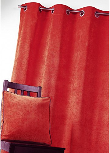 Homemaison gordijn, velours, polyester, rood, 260 x 140 cm