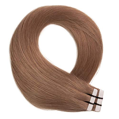 Just Beautiful Hair 10 x 2.5g Extensions bande adhésives - 60cm, REMY Hair #10 brun cendres, lisse