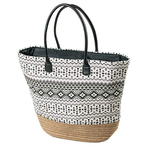 LaFiore24 Einkaufstasche Damen Shopper Ethno Strandtasche Badetasche Schultertasche Reissverschluss schwarz
