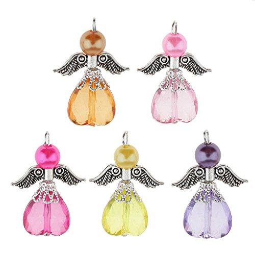 FITYLE 5 Stück DIY Bastelset Engel Anhänger Fee Flügel Anhänger Perlenengel Acryl Perlen Beads Kugeln Schmuckanhänger Kinderschmuck