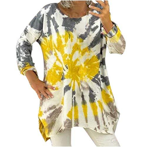 Sudadera con Cuello Redondo para Mujer Sudadera Casual con Efecto Tie-Dye Camiseta Manga Larga Pullover Tops