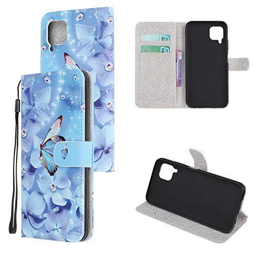 Miagon Bunt Muster Full Body Hülle für Huawei P40 Lite,PU Leder Leder Flip Case Schutzhülle Tasche mit Ständer Kartenfach Magnetschnalle,Blau Schmetterling