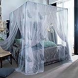 LOKKM Moustiquaire pour lit de garçons élégant pour lit de garçons, Princess 4 Corner Post Moustiquaire, lit de bébé pour lit à baldaquin, décor de literie, B, 1.8×2m