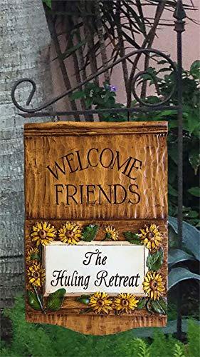 Piazza Pisano Tournesol Welcome Friends Panneau de jardin suspendu personnalisé avec piquet