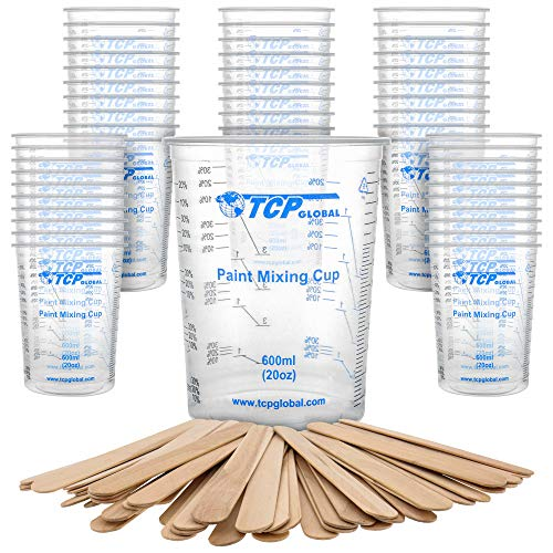 TCP Global 20 Ounce (600ml) Disposable Flexible Clear Graduated Plastic Mixing Cups - Box of 50 Cups & 50 Mixing Sticks - Use for Paint, Resin, Epoxy, Art, Kitchen - Measuring Ratios 2-1, 3-1, 4-1, ML